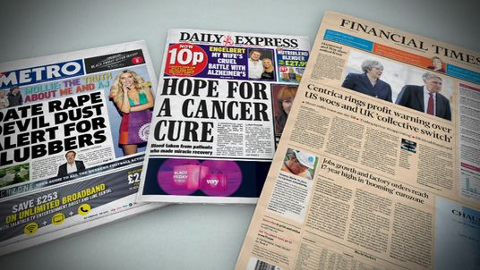 Newspaper front pages 24 November