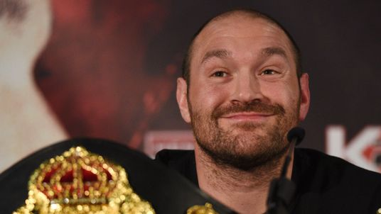 British heavyweight boxer Tyson Fury reacts during a press conference to publicise his forthcoming world heavyweight title fight against Ukranian heavyweig