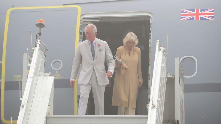 Prince Charles and Camilla, Duchess of Cornwall, arrive at New Delhi airport