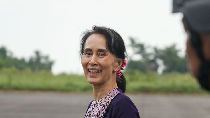 Aung San Suu Kyi on a visit to Rakhine state on 2 November