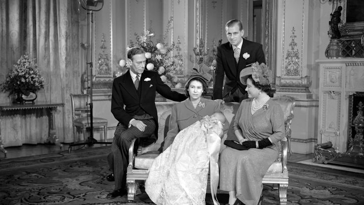 November 1948: Princess Elizabeth with Prince Charles at his christening, with Prince Philip, her father King George and mother Queen Elizabeth