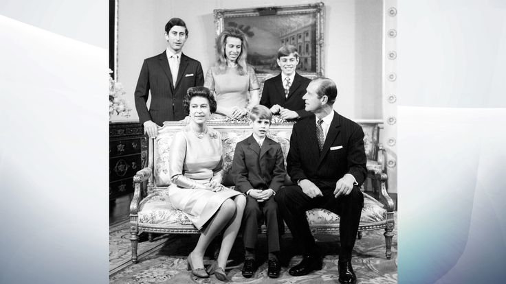 November 1972: The Queen and Prince Philip celebrated their silver wedding anniversary with a family photo. Top l-r: Prince Charles, Princess Anne, Andrew. Bottom: Edward in between their parents