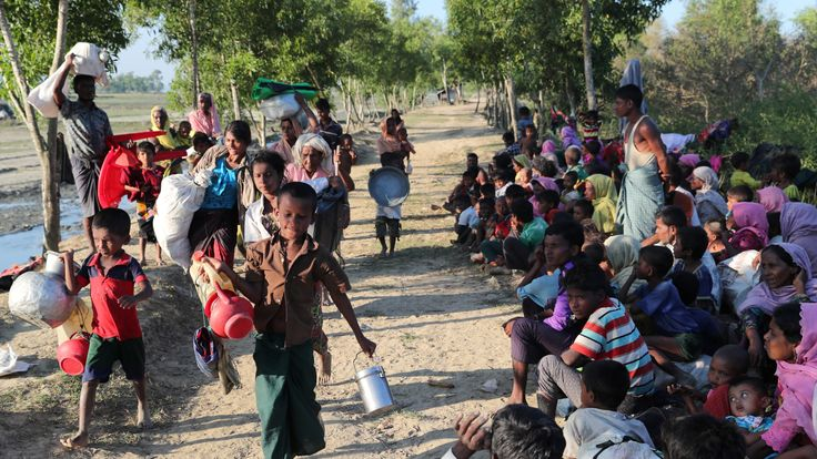 Rohingya refugees are temporarily detained at the Bangladesh border