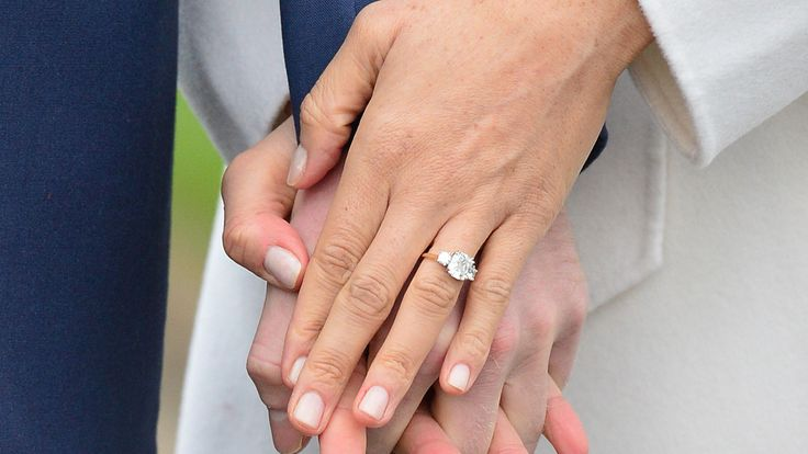 Meghan Markle shows off her  engagement ring in the Sunken Garden at Kensington Palace, London