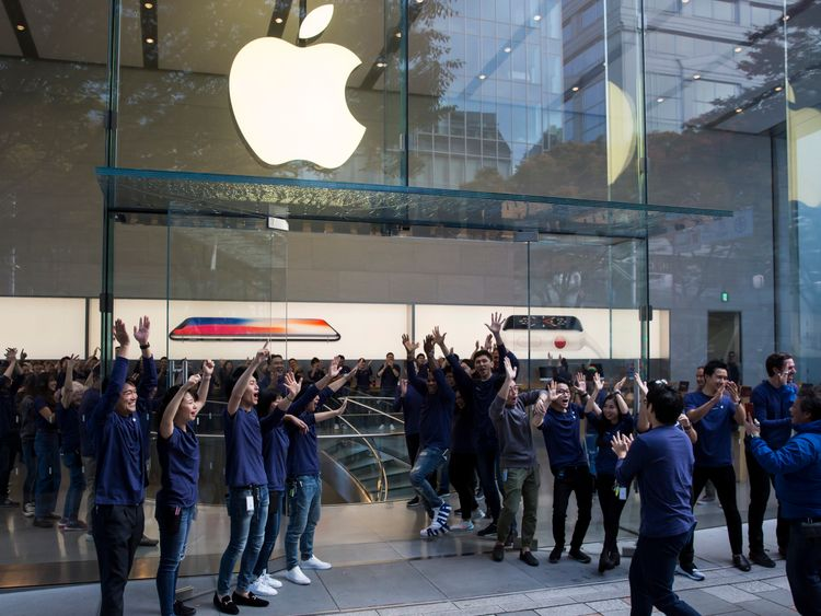 Apple shares peak as iPhone X goes on sale in UK