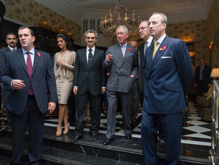 HRH The prince of Wales re-opens the Savoy Hotel, today , November 2nd 2010. He was given the tour of the hotel by part owner Prince Alwaleed Bin Talal Bin Abdulaziz Alsaud and wife Princess Amira.