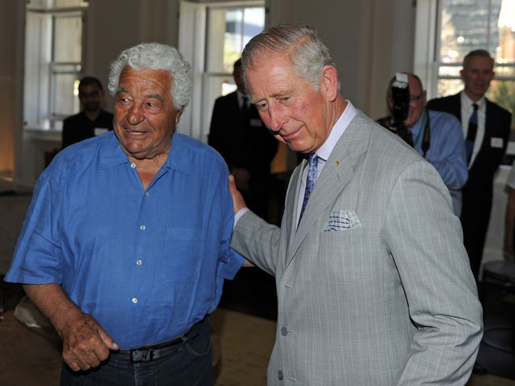 PERTH, AUSTRALIA - NOVEMBER 15: Britain's Prince Charles, Prince of Wales (R) greets renowned chef Antonio Carluccio (L) as he tours the restored historical State Buildings on November 15, 2015 in Perth, Australia. The Royal couple are on a 12-day tour visiting seven regions in New Zealand and three states and one territory in Australia. (Photo by Greg Wood - Pool /Getty Images)