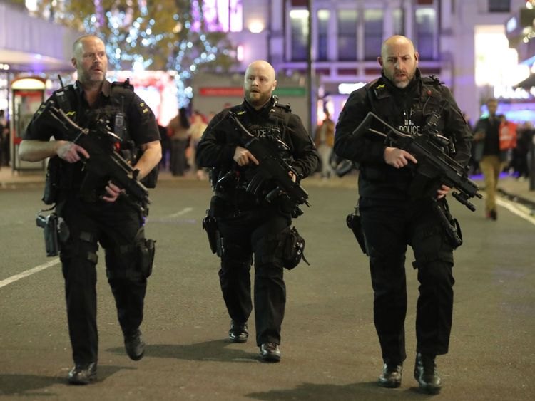 Armed police at Oxford Street