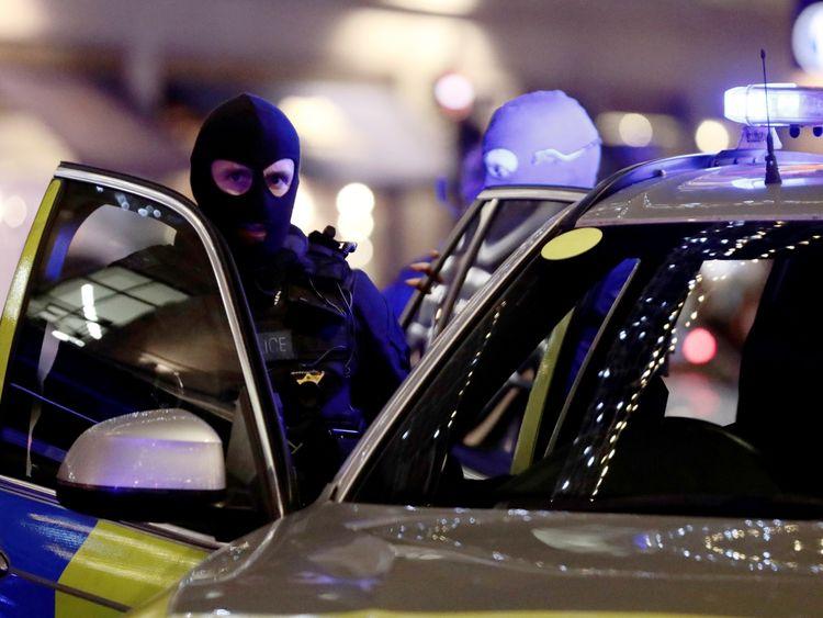 Armed police at the scene in Oxford Street