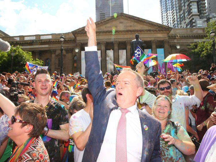 MELBOURNE, AUSTRALIA - NOVEMBER 15: Leader of the Opposition Bill Shorten celebrates in the crowd during the Official Melbourne Postal Survey Result Announcement at the State Library of Victoria on November 15, 2017 in Melbourne, Australia. Australians have voted for marriage laws to be changed to allow same-sex marriage, with the Yes vote defeating No. Despite the Yes victory, the outcome of Australian Marriage Law Postal Survey is not binding, and the process to change current laws will move t