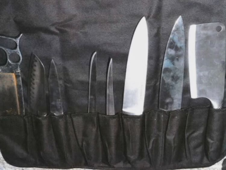 Police found a knife set and bone saw in the house