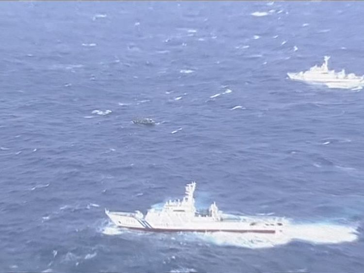 The boat was spotted off the coast of Japan