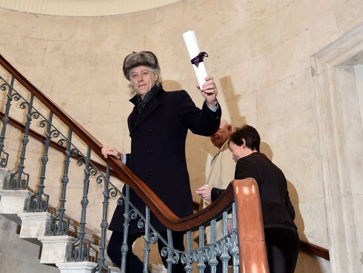 Bob Geldof arrives to return his 'Freedom of the City of Dublin' award