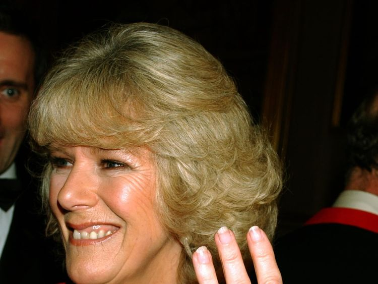 Camilla shows her engagement ring in the grand reception room of Windsor Castle, Berkshire in February 2005