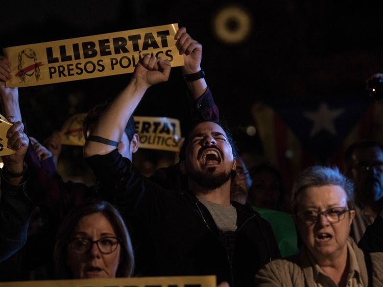 Protesters in Barcelona after nine former ministers were jailed