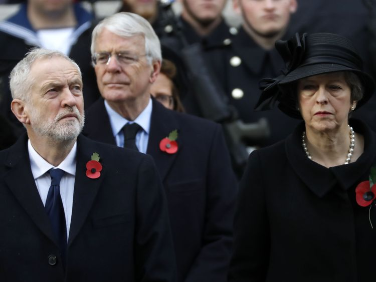 Jeremy Corbyn, John Major and Theresa May are among those who attended the Whitehall service