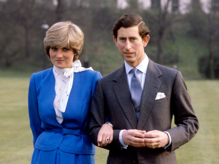 The Prince and Princess of Wales announce their engagement at Buckingham Palace in February 1981.