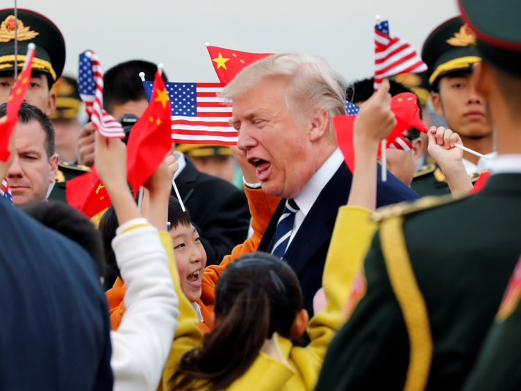 Donald Trump arrives in Beijing