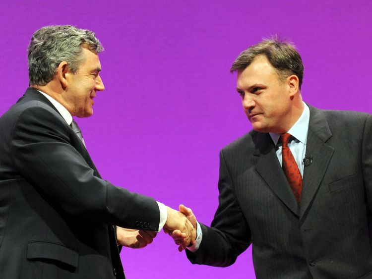 Prime Minister Gordon Brown congratulates Schools Secretary Ed Balls after he addressed the Labour Party conference in Manchester.