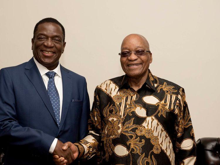 Emmerson Mnangagwa meets South Africa's Jacob Zuma before returning to Zimbabwe