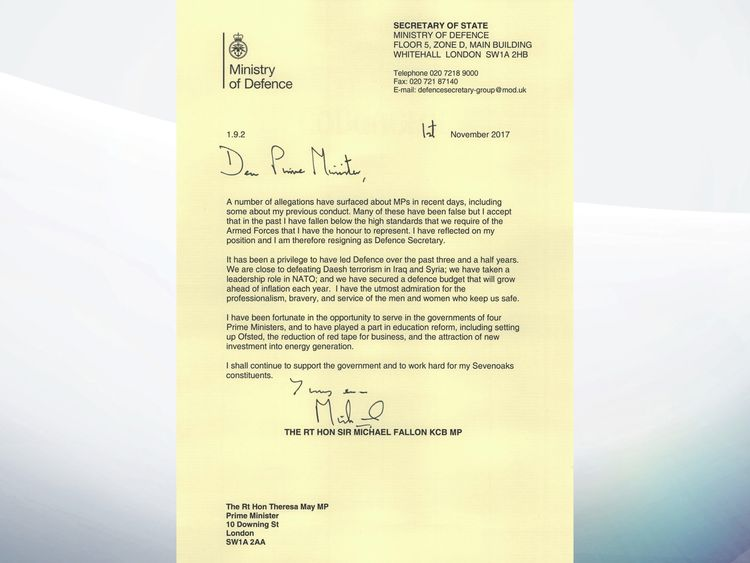 Sir Michael Fallon's resignation letter