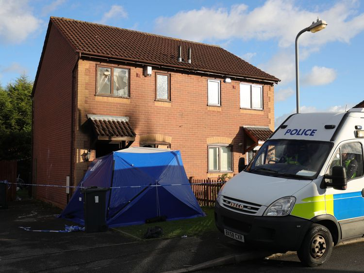 A police van outside Anthony Nicholls' house in the Tile Cross area of Birmingham
