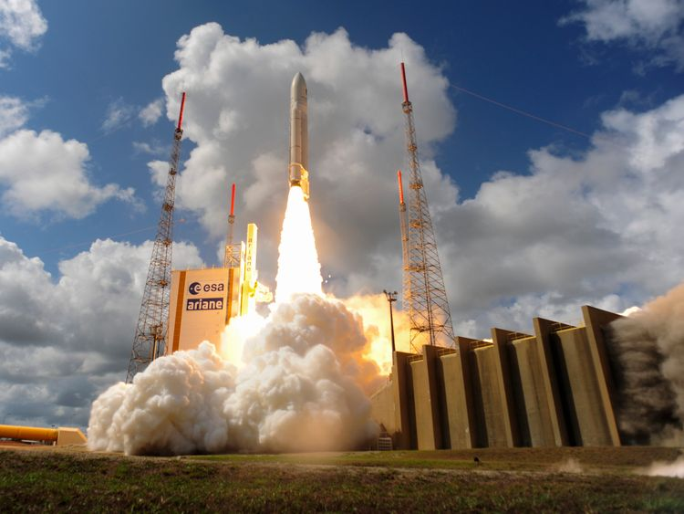 Ariane Flight VA233 carrying four European Galileo navigation satellites launches November 15, 2016 in Kourou, French Guiana