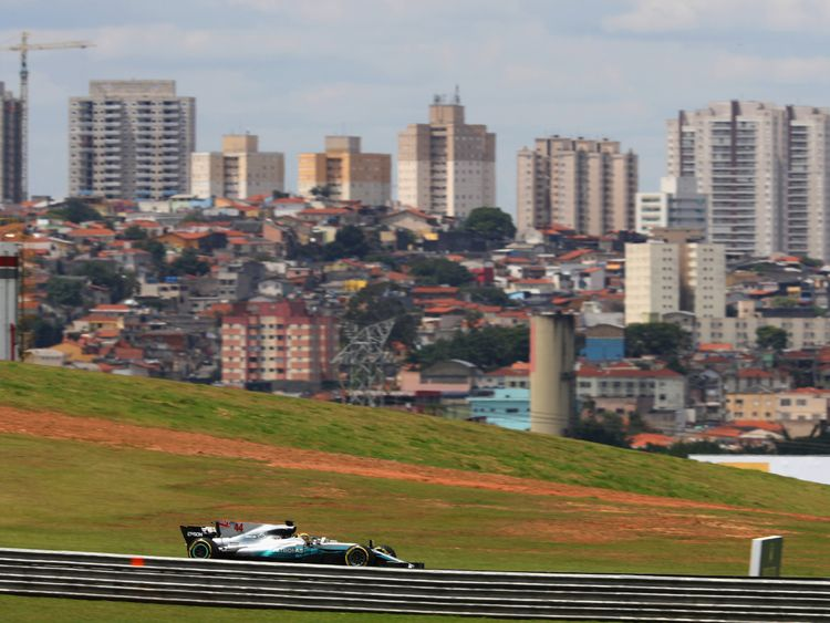 Hamilton pictured during practice for the Brazilian Grand Prix