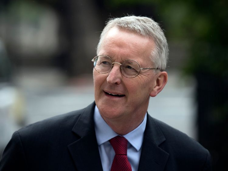LONDON, ENGLAND - JULY 11: Former Shadow Foreign Secretary, Hilary Benn, arrives to attend a press conference held by former shadow business secretary Angela Eagle in which Eagle announced her intention to challenge Jeremy Corbyn for leadership pf the Labour Party, on July 11, 2016 in London, England. Mr Corbyn has faced numerous frontbench resignations, but has said he would not betray the party members, who elected him last year, by standing down.
