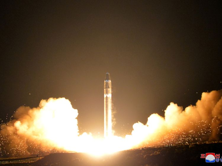 North Korea says the Hwasong-15 missile, seen here, can reach the US mainland
