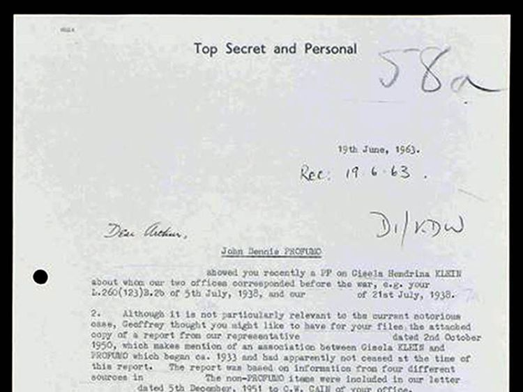 Handout memo dated 19/6/1963 written by MI6 officer Cyril Mackay  issued by The National Archives on John Profumo