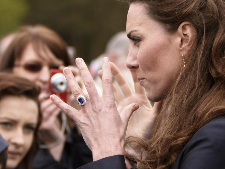 Kate Middleton meeting well wishers during a visit to Witton Country Park in Darwen, Lancashire in April 2011