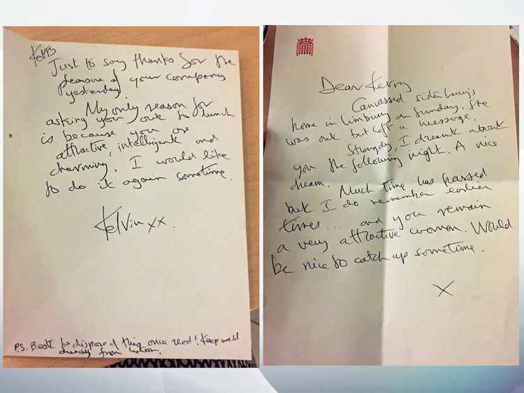 Two of the notes that Kelvin Hopkins allegedly sent to Kerry McCarthy