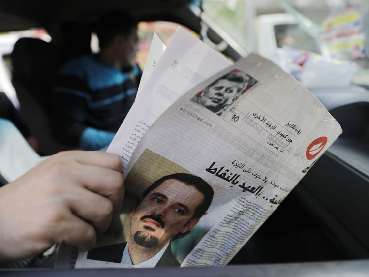 A paper reports on Saad Hariri's resignation