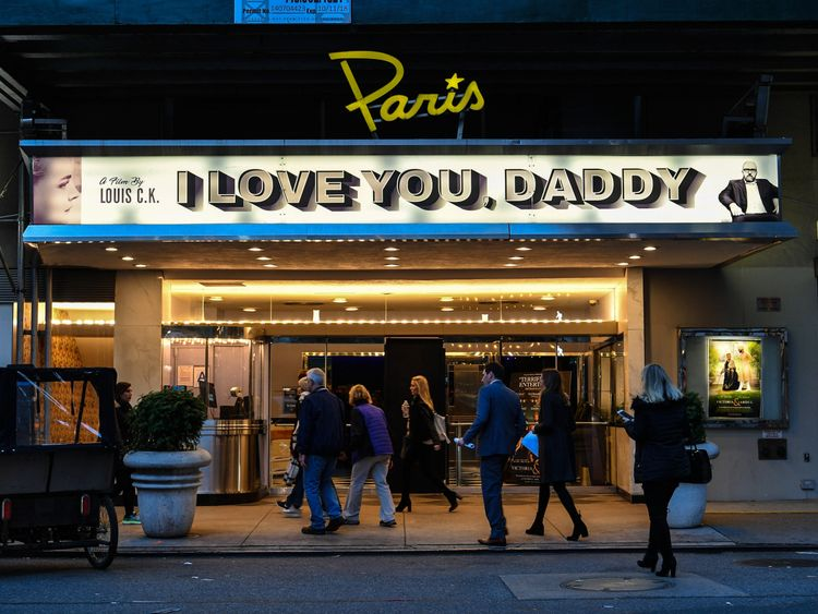 NEW YORK, NY - NOVEMBER 09: An exterior view of The Paris Theatre with a marquee advertising the Louis C.K. movie 'I Love You, Daddy' on November 9, 2017 in New York City. The premiere for the movie was canceled after Louis C.K. was accused of sexual misconduct by five women was reported by the New York Times. (Photo by Dia Dipasupil/Getty Images)