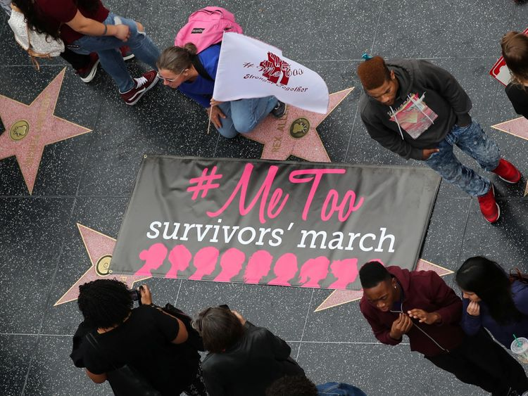 Hundreds join #MeToo march in Hollywood