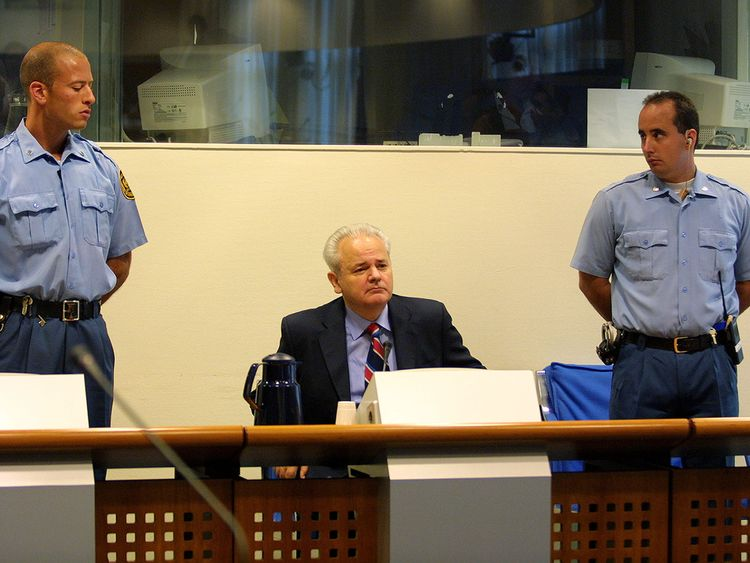 Milosevic at his trial in the Hague in 2002