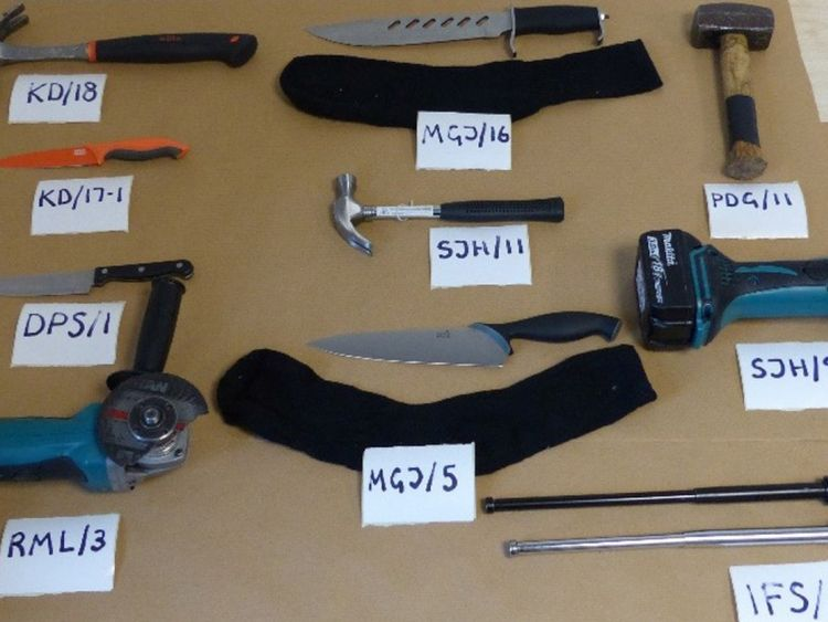 Metropolitan Police undated handout photo of tools and weapons that was used by a moped gang who have been convicted of taking part in the burglaries, which took place between May and November 2016