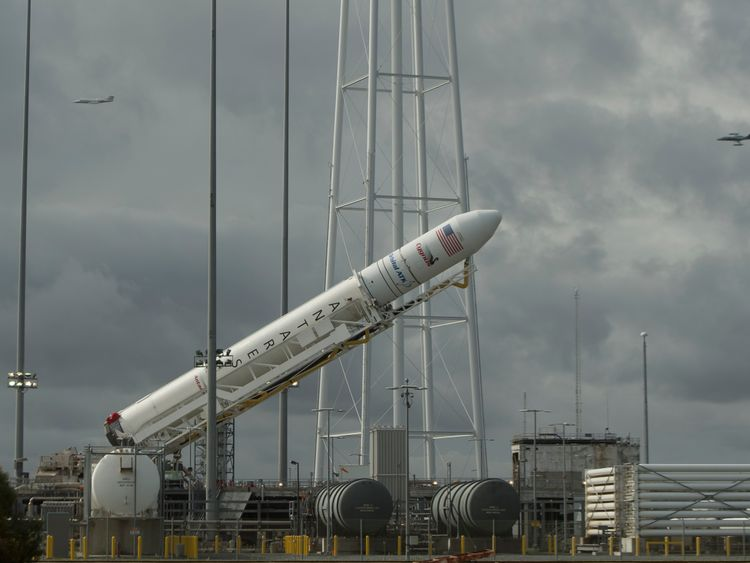 The rocket is raised into position at NASA's Wallops Flight Facility in Virginia