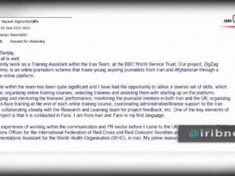 An email to an associate from Nazanin Zaghari-Ratcliffe that describes her work with the BBC World Service training journalists, which the Iranian regime claims is evidence she was working to undermine Iran