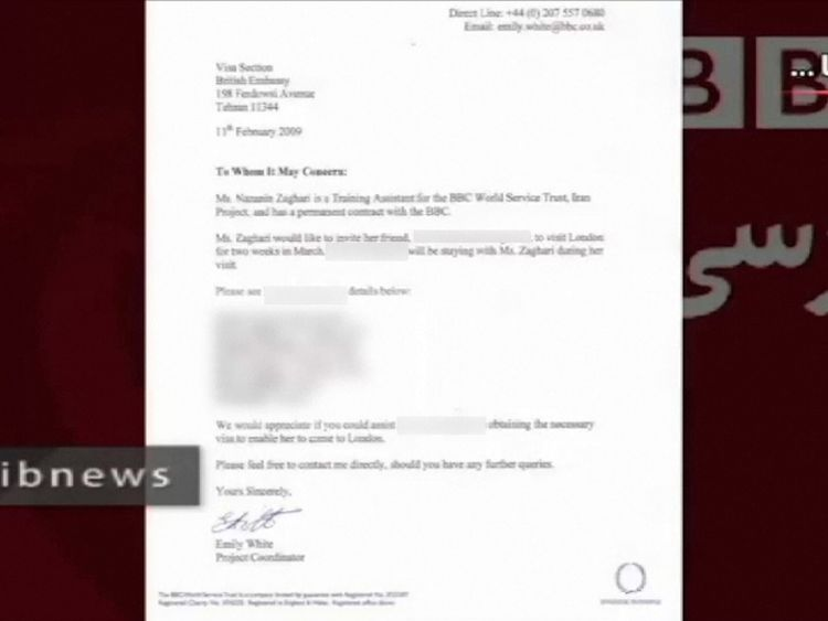 A letter to the British Embassy in Tehran from BBC worker Nazanin Zaghari-Ratcliffe which the Iranian regime claims is evidence she was working to undermine Iran