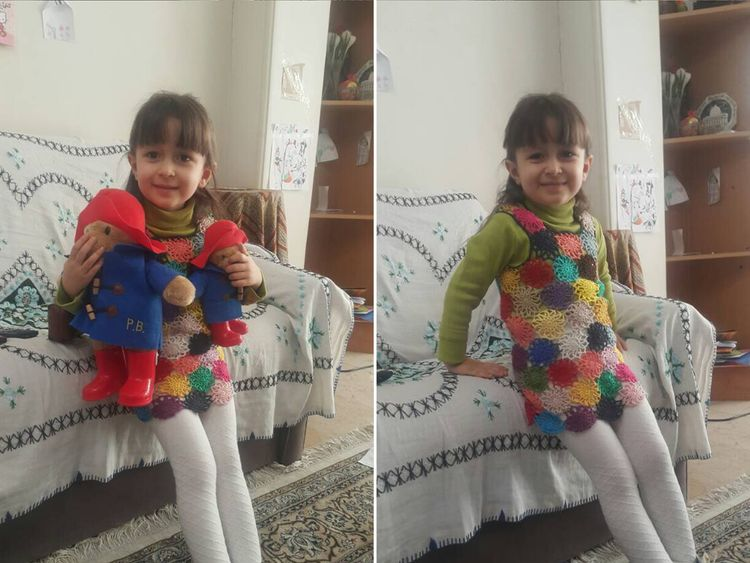 Nazanin Zaghari-Ratcliffe's daughter Gabriella wearing a pinafore her mother made in prison