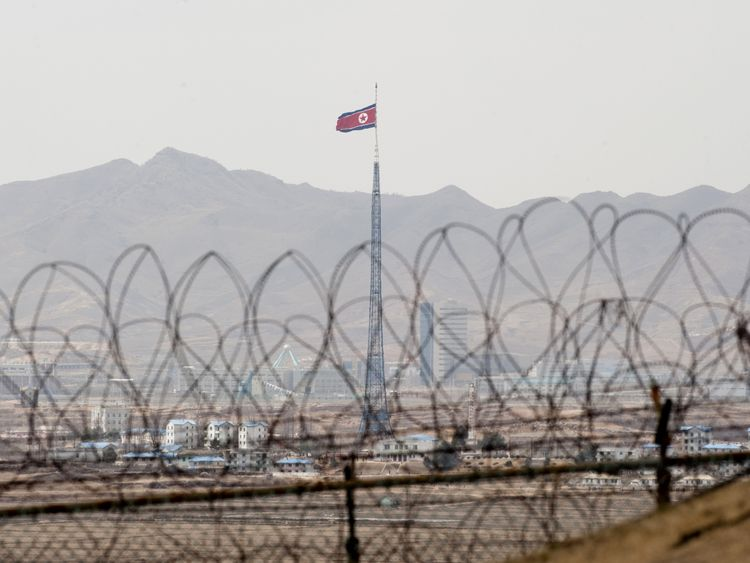 A North Korean propaganda village is pictured from the Observation Post Ouellette in the Joint Security Area of the Demilitarized Zone (DMZ) near Panmunjom on the border between North and South Korea during a visit by US President Barack Obama on March 25, 2012. Obama arrived in Seoul earlier in the day to attend the 2012 Seoul Nuclear Security Summit to be held on March 26-27