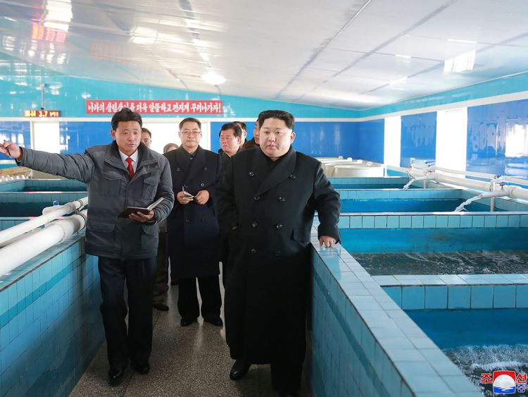 Kim Jong Un toured a catfish factory in the hours after a missile test was detected