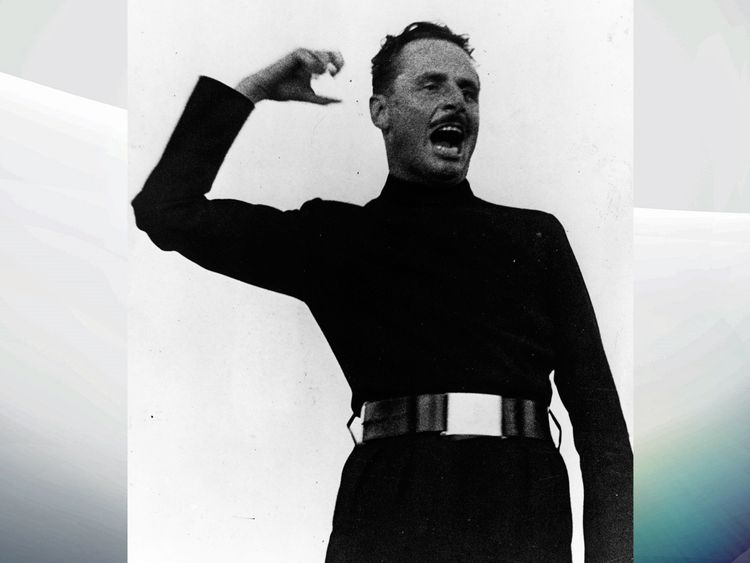 Oswald Mosley in full flow at a rally in London's Hyde Park in 1934