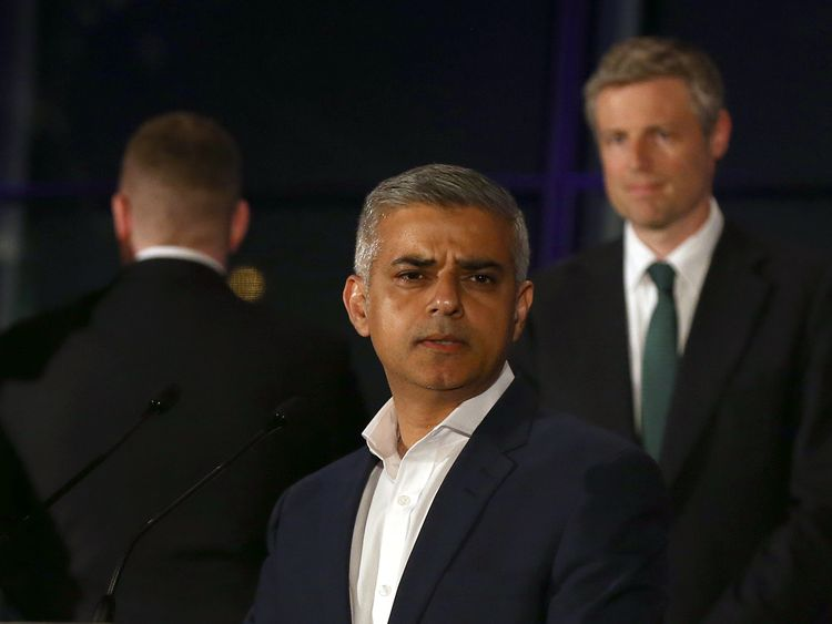 Golding turns his back on Sadiq Khan after he won the London mayor race in May 2016