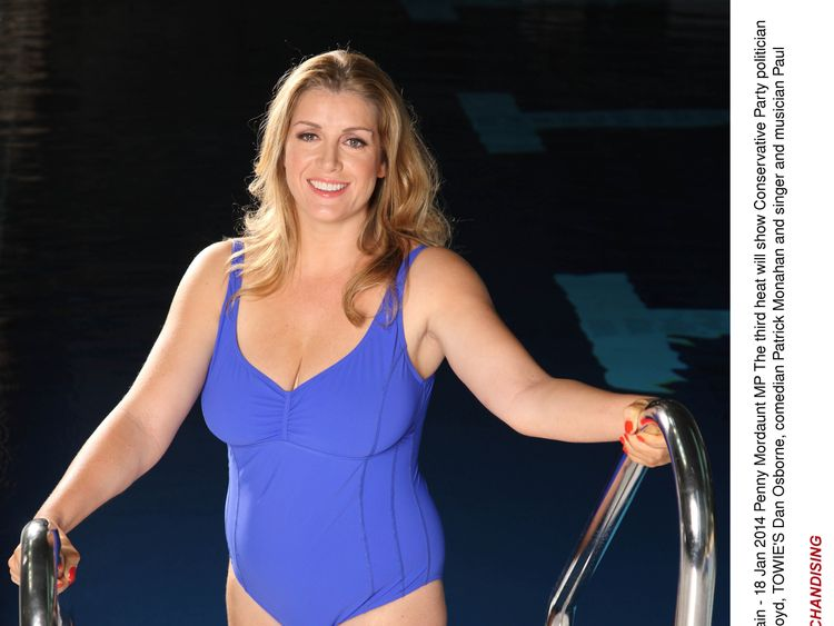 Penny Mordaunt in a swimming costume