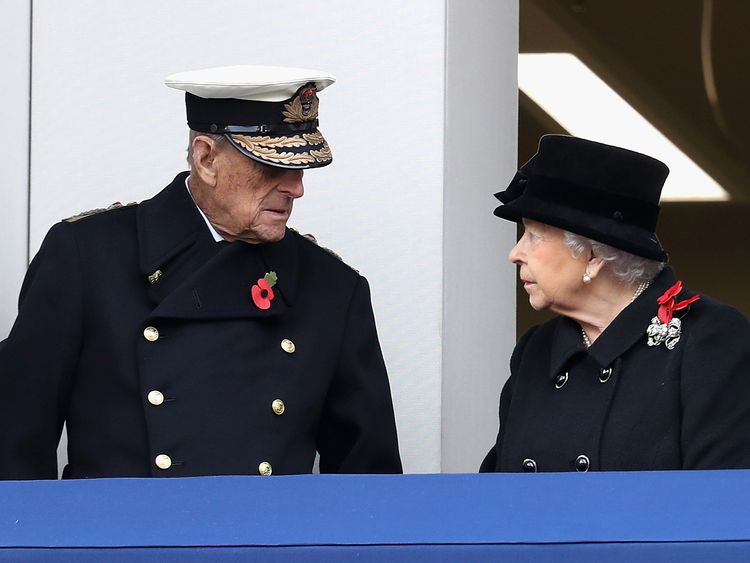 The Queen was joined by the Duke of Edinburgh on the Foreign Office balcony