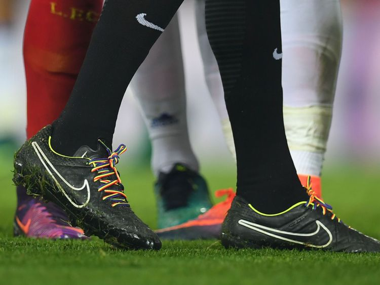 Referee Anthony Taylor wears rainbow laces in support of LGBT players in November 2016
