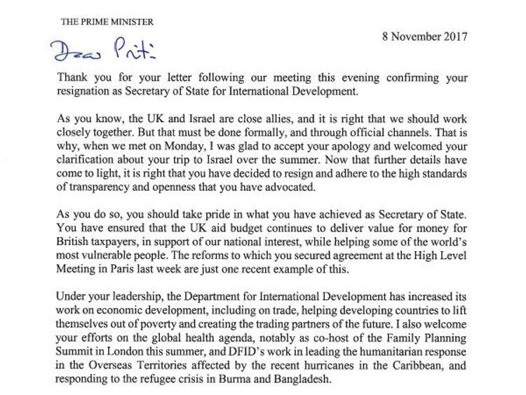 PM's response to Priti Patel's resignation
